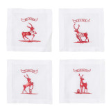 Country Estate Reindeer Games Team Sports Cocktail Coasters/Cocktail Napkins Set of 4
