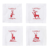 Country Estate Reindeer Games Solo Sports Cocktail Coasters/Cocktail Napkins Set of 4