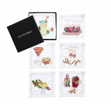 Holiday Cheer Set of 6 White/multi Cocktail Napkin