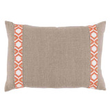 Natural Linen With Camden Tape Coral On White Lumbar Pillow 13 X 19 In