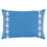 Royal Linen With Camden Tape Regatta On White Lumbar Pillow 13 X 19 In