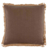 Mud Linen 24 X 24 Pillow with Natural Pipe and Jute Fringe