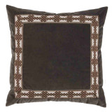 Charcoal Velvet 22×22 Pillow with Amalfi Charcoal Tape