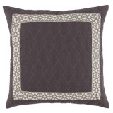 Quilted Charcoal Linen 22×22 Pillow with Natural Florence Tape