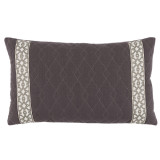 Quilted Charcoal Linen 13×22 Lumbar Pillow with Natural Florence Tape