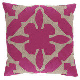 Gloria Applique 22×22 Pillow with Natural and Incite Linen