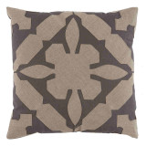 Gloria Applique W / Grey & Natural Linen Pillow 22 X 22 In
