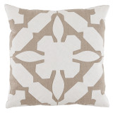 Gloria Applique With Natural & Oyster Linen Pillow 22 X 22 In