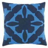 Gloria Applique 22×22 Pillow with Royal and Navy Linen