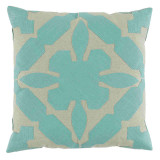 Gloria Applique With Seafoam & Peacock Linen Pillow 22 X 22 In