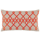 Chevron Orange Embroidery On Natural Lumbar Pillow 13 X 22 In