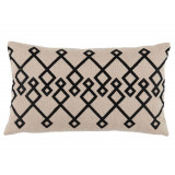 Chevron Black Embroidery On Natural Lumbar Pillow 13 X 22 In