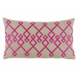 Chevron Fuschia Embroidery On Natural Lumbar Pillow 13 X 22 In