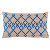 Chevron Pacific Embroidery On Natural Lumbar Pillow 13 X 22 In