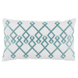 Chevron Mineral Embroidery On White Lumbar Pillow 13 X 22 In