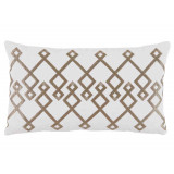 Chevron Bisque Embroidery On White Lumbar Pillow 13 X 22 In
