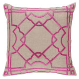 Gatsby Fuchsia Embroidery 20×20 Pillow on Natural