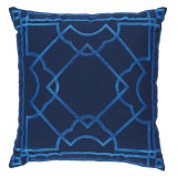 Gatsby Pacific Embroidery 20×20 Pillow on Navy
