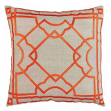 Gatsby Orange Embroidery On Natural Pillow 20 X 20 In