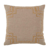 Nailhead Brass On Natural Linen Pillow 20 X 20 In