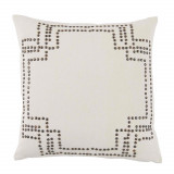 Nailhead Antique On Off White Cotton Pillow 20 X 20 In