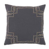 Nailhead Nickel On Grey Cotton Pillow 20 X 20 In