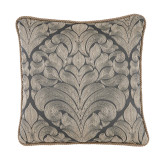 Caterina Fog Woven Medallion With Grey Rope Trim Pillow 22 X 22 In