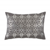 Dorado Nickel Foil Lumbar On Grey Linen Pillow 13 X 19 In