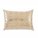 Dorado Brass Foil Lumbar On Danish Linen Pillow 13 X 19 In