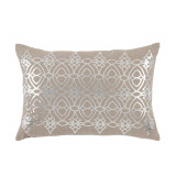 Dorado Nickel Foil Lumbar On Natural Linen Pillow 13 X 19 In