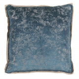 Medici Fog Antiqued Chenille With Natural Linen Flange Pillow 22 X 22 In