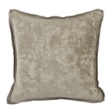 Medici Nickel Antiqued Chenille With Stone Linen Flange Pillow 22 X 22 In