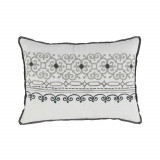 Madeira Nickel Embroidered Lumbar With Grey Flange Pillow 13 X 19 In