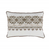 Madeira Brass Embroidered Lumbar With Mud Flange Pillow 13 X 19 In