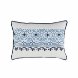 Madeira Fog Embroidered Lumbar With Navy Flange Pillow 13 X 19 In