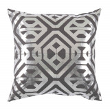Isabella Nickel Foil On Grey Linen Pillow 20 X 20 In