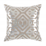 Isabella Nickel Foil On Natural Linen Pillow 20 X 20 In