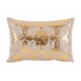 Python Brass Foil Lumbar On Tan Cotton Pillow 13 X 19 In