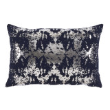Python Nickel Foil Lumbar On Midnight Cotton Pillow 13 X 19 In
