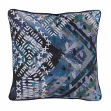 Cobalt Stitch Print With Aruba Flange Pillow 16 X 16 In