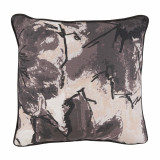 Grey Abstract Floral Print With Jet Flange Pillow 16 X 16 In