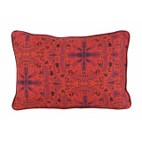 Red Suzani Print Lumbar With Carmine Flange Pillow 13 X 19 In