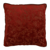Medici Garnet Antiqued Chenille Withmud Linen Flange Pillow 22 X 22 In