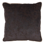 Medici Flint Antiqued Chenille With Natural Linen Flange Pillow 22 X 22 In