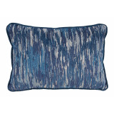 La Costa Blue Lumbar With Denim Velvet Flange Pillow 13 X 19 In