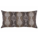 Riptide Truffle Long Lumbar Withcharcoal Velvet Back Pillow 14 X 28 In