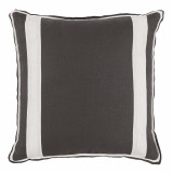 Grey Linen With Oyster Linen Inset Pillow 20 X 20 In