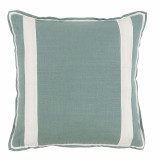 Aquamarine Linen With Oyster Linen Inset Pillow 20 X 20 In