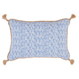 Palma Wedgewood Lumbar With Jute Tassels Pillow 13 X 19 In