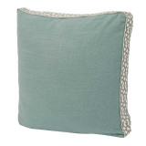 Aquamarine Linen With Spa Florence Tape Gusset Pillow 18 X 18 X 2 In